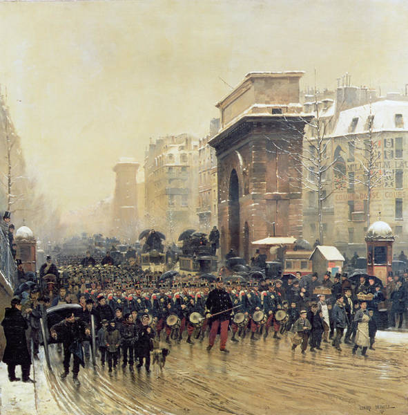 Marching Photograph - The Passing Regiment, 1875 Oil On Canvas by Jean-Baptiste Edouard Detaille