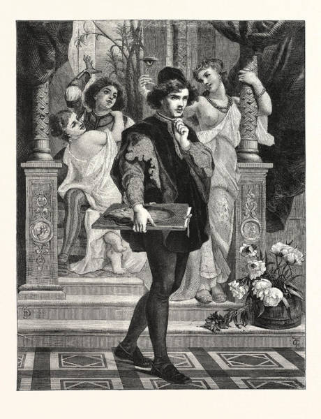 Duty Drawing - The Path Of Duty by Merle, Hugues (1823?1881), French