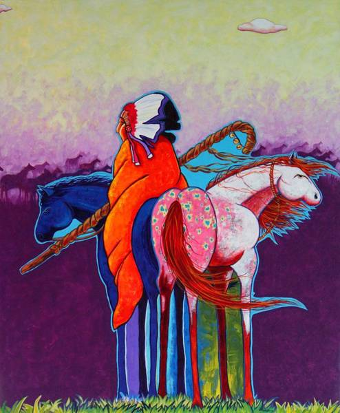 Native American Blanket Painting - The Peacemakers Gift by Joe  Triano