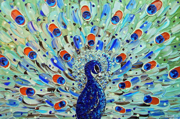 Wall Art - Painting - The Peacock by Christine Bell