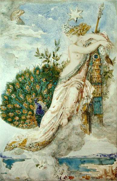 Impressionistic Drawing - The Peacock Complaining To Juno by Gustave Moreau