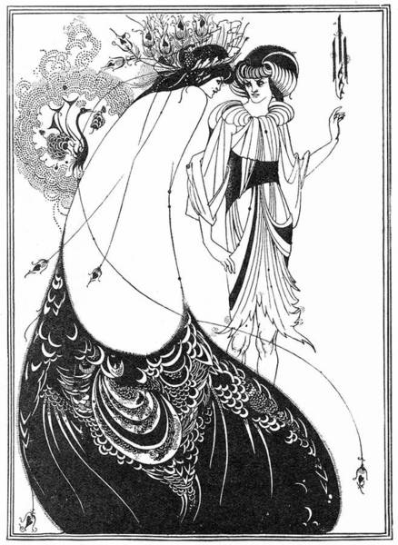 Beardsley Drawing - The Peacock Skirt, An Illustration by Mary Evans Picture Library
