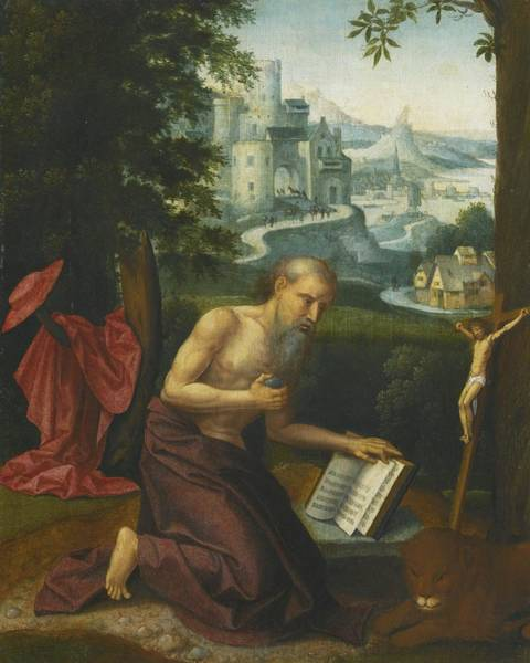 Circa Painting - The Penitent Saint Jerome In A Landscape by Celestial Images
