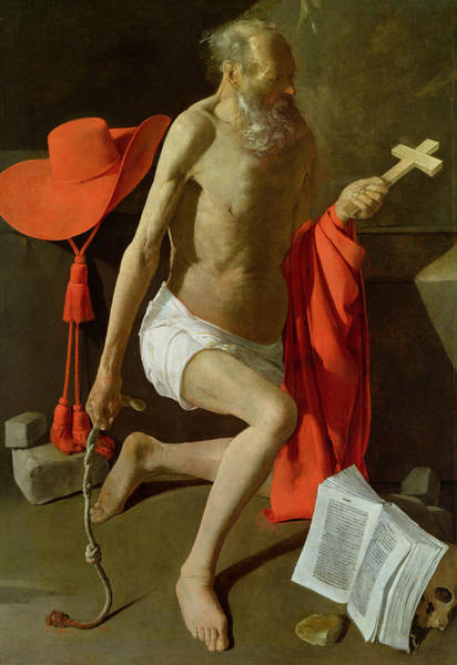 Whip Painting - The Penitent St Jerome  by Georges de la Tour