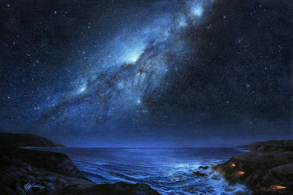 Milky Way Wall Art - Painting - The People Of Pinnacle Point by Lucy West