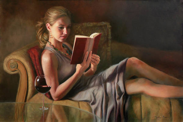 Woman Reading Wall Art - Painting - The Perfect Evening by Anna Rose Bain