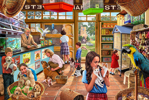 Canaries Painting - The Pet Shop by MGL Meiklejohn Graphics Licensing