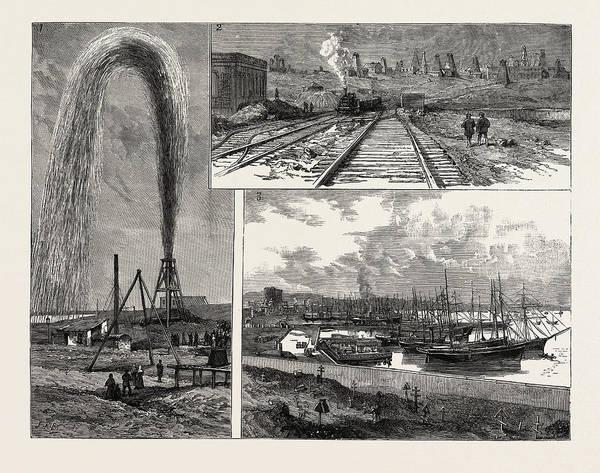 Petroleum Drawing - The Petroleum Wells Of Baku On The Caspian Sea 1 by English School