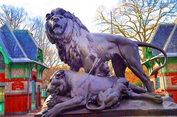 Lion Statue Photograph - The Philadelphia Zoo Lion Statue by Bill Cannon