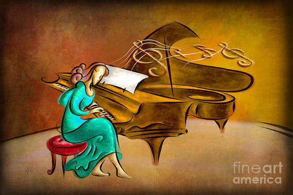 Grand Piano Digital Art - The Pianist by Peter Awax