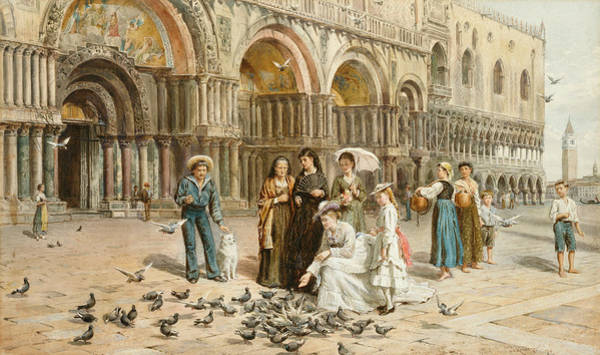 Time Square Painting - The Pigeons Of St Mark S by George Goodwin Kilburne