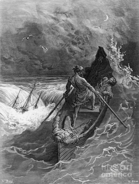 Waves Drawing - The Pilot Faints Scene From 'the Rime Of The Ancient Mariner' By S.t. Coleridge by Gustave Dore