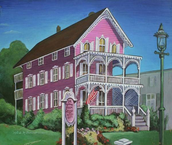 Cape May Painting - The Pink House In Cape May by Melinda Saminski