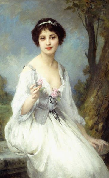 Blue Dress Painting - The Pink Rose by Charles Amable Lenoir