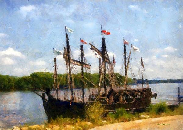 Painting - The Pinta At Sunrise by RC DeWinter