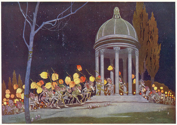 Folklore Drawing - The Pixies' Carnival          Date 1929 by Mary Evans Picture Library