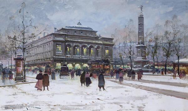 Traffic Painting - The Place Du Chatelet Paris by Eugene Galien-Laloue