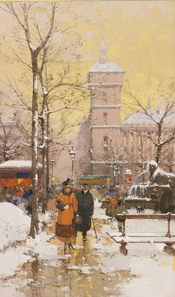 Ch Painting - The Place Of Chatelet And Concierge In Snow by Celestial Images