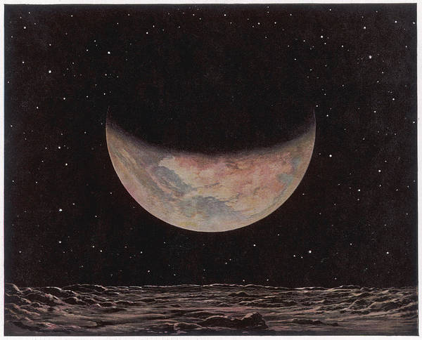 Night Time Drawing - The Planet Mars As Seen From One Of by Mary Evans Picture Library