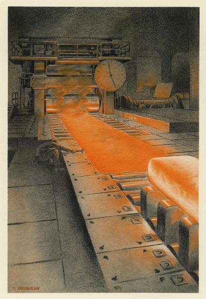 Wall Art - Drawing - The Plate Mill At Longwy Steelworks by Mary Evans Picture Library