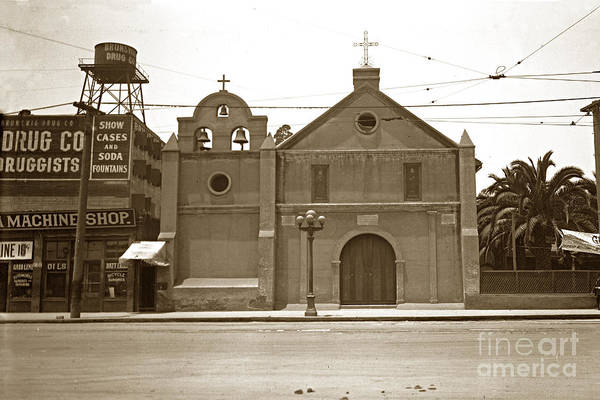 Photograph - The Plaza Church Los Angeles Circa 1915 by California Views Archives Mr Pat Hathaway Archives
