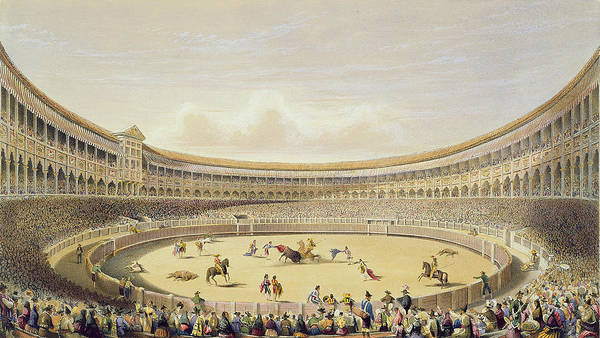 Matador Wall Art - Drawing - The Plaza De Toros Of Madrid, 1865 by William Henry Lake Price