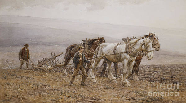 Plow Painting - The Ploughman Wilmington Polegate Near Eastbourne by Joseph Harold Swanwick