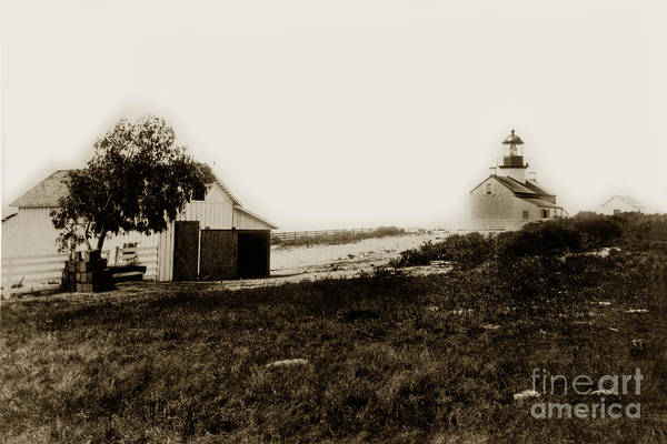Photograph - The Point Pinos Lighthouse Pacific Grove California Circa 1895 by California Views Archives Mr Pat Hathaway Archives