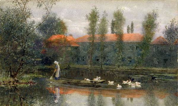 Rowing Wall Art - Drawing - The Pond Of William Morris Works by Lexden L. Pocock