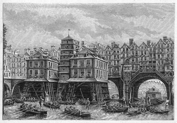 Notre Dame Drawing - The Pont Notre-dame In The 18th Century by Mary Evans Picture Library