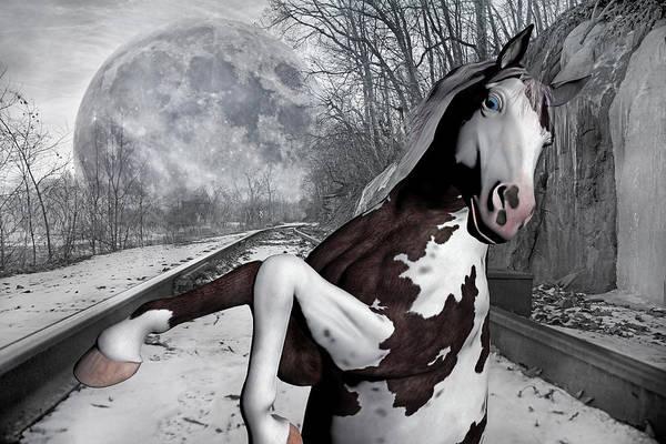 Full Moon Mixed Media - The Pony Express by Betsy Knapp