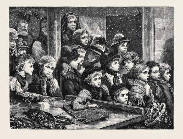 Distribution Drawing - The Poor Of London Gratuitous Distribution Of Waste Fish by English School