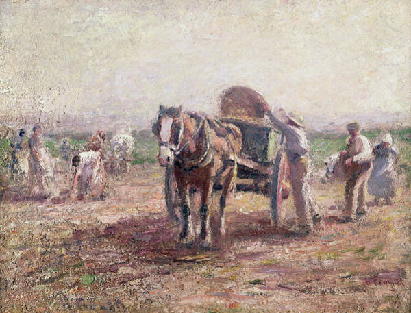Potato Painting - The Potato Pickers by Harry Fidler