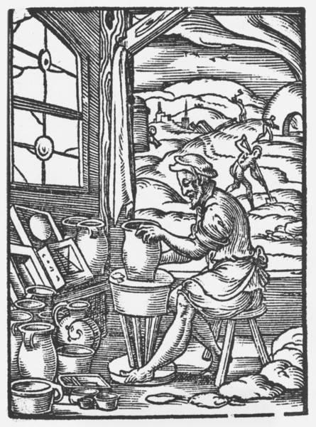 Potters Wheel Wall Art - Drawing - The Potter, 1574 by Jost Amman