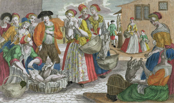 Goose Drawing - The Poultry Market by Martin Engelbrecht