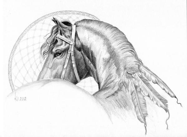 Friesian Drawing - The Power Within by Karen  Wegehenkel