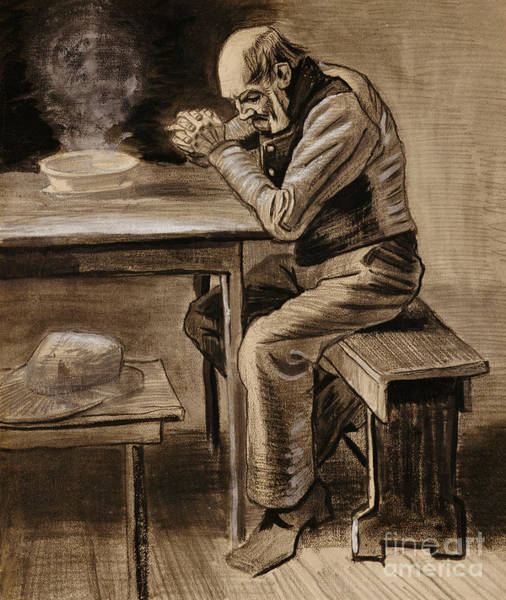 Elderly Wall Art - Drawing - The Prayer by Vincent Van Gogh