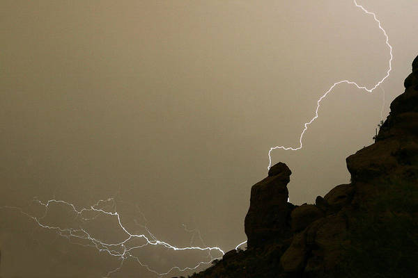 Camelback Mountain Photograph - The Praying Monk Lightning Strike by James BO Insogna