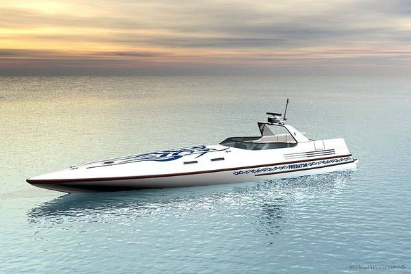 Speed Boat Digital Art - The Predator by Michael Wimer