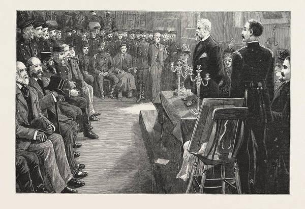 Brigade Drawing - The Presentation To Sir Eyre Massey Shaw by English School