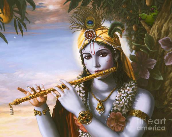 Painting - The Primordial Flute Player by Vishnudas Art