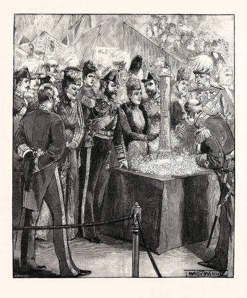 Wall Art - Drawing - The Prince And Princess Of Wales Opening The Naval by English School
