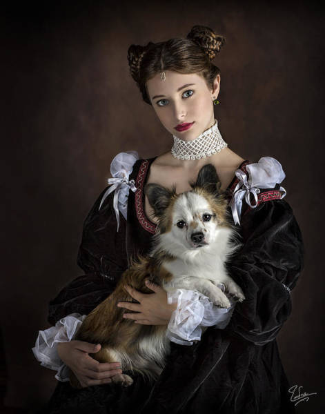 Photograph - The Princess And Her Dog by Endre Balogh