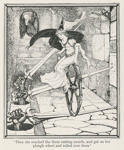 Wall Art - Drawing - The Princess Rides On A Plough  Wheel by Mary Evans Picture Library