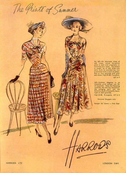Wall Art - Drawing - The Prints Of Summer, From Harrods Ltd by English School