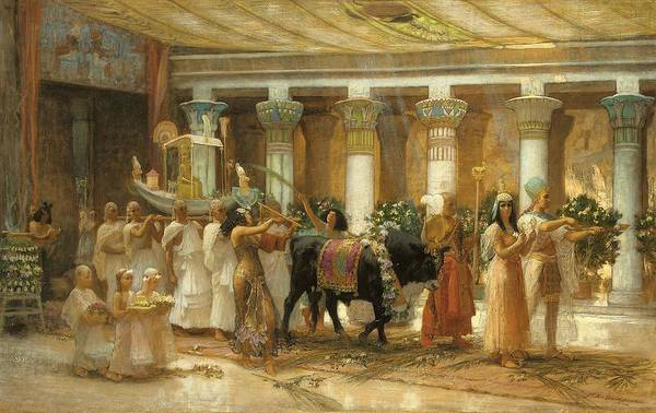 Wall Art - Painting - The Procession Of The Sacred Bull by Frederick Arthur Bridgman