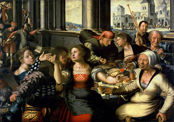 Indulgence Photograph - The Prodigal Son, 1536 Oil On Panel by Jan Sanders van Hemessen