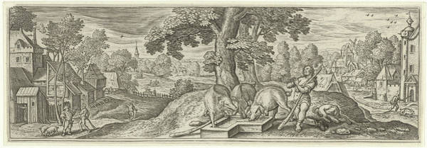 Suffering Drawing - The Prodigal Son As A Swineherd, Julius Goltzius by Julius Goltzius And Hans Bol And Claes Jansz. Visscher (ii)