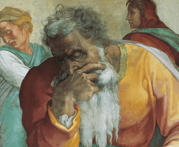 Thoughts Painting - The Prophet Jeremiah by Michelangelo