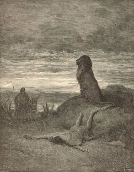 Scriptural Painting - The Prophet Slain By A Lion by Antique Engravings
